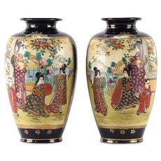 PAIR  of Signed  Japanese Satsuma (Gosu) Cobalt Blue Hand-Painted Vases, Meiji period.