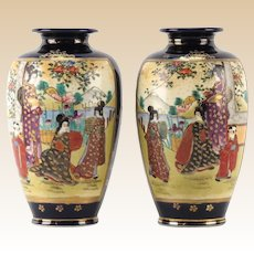 PAIR  of Signed  Japanese Satsuma (Gosu) Cobalt Blue Hand-Painted Vases, Meiji period.