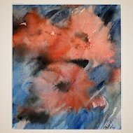 """CARL HOLTY (German/American  1900 - 1973) Signed Original Watercolor """"Poppies"""" Expressionist Abstract"""