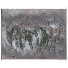 "POLISH SCHOOL Original Signed Mixed Media ""Abstract Composition"" Mid-Century"