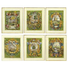 GABRIEL EHINGER (German, 1652 - 1736) - SIX (6)  17th - 18th Century Engravings,  Outstanding Antique Offering