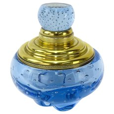 Vintage Art Glass Cobalt Blue Inkwell/Paperweight With Gilt Brass Top and Controlled Bubbles