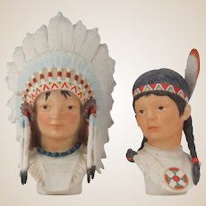"PAIR of Signed Cybis Porcelain Adorable Indian Children ""Little Eagle"" and ""Running Deer"""