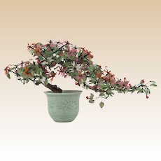 "Vintage Large Chinese Carved Jade and Hardstone ""Ming Tree"" in Celadon Porcelain Cachepot"
