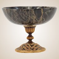 Vintage Jay Strongwater Signed Marble And Gilt Metal Tazza With Swaroski Crystal Accents, Closed Edition