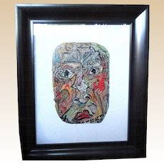 ALEXANDER GORE (Russian/American 20th Century)  Original Abstract SELF-PORTRAIT  Impasto Oil Painting Signed, With Artist's COA -