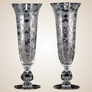 "PAIR of Vintage Cambridge ""Rose Point""  Crystal Vases With Keyhole Sculpted Stem - 12 Inches Tall"