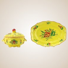 "Elysse by Luneville ""Louis XV Yellow"" Faience Pottery From France"