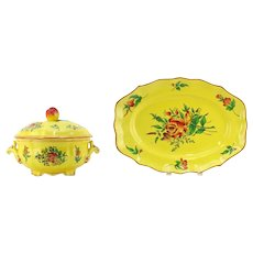 """Elysse by Luneville """"Louis XV Yellow"""" Faience Pottery From France"""