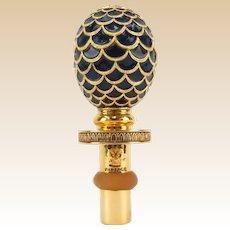 GERMAN Vintage Gilt Metal and Enamel Stopper, Signed Faberge
