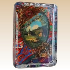 Unusual Paperweight - A Three Dimensional Scene Encased in Glass With Flowers and A Frame Surrounding A Bucolic Scene