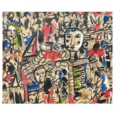 RENE PORTOCARRERO (Cuban, 1912 - 1985) - Original Signed and Dated Gouache On Paper