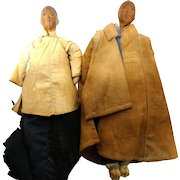 PAIR of Chinese Door Of Hope Mission Dolls, Pear Wood Heads, Circa 1912