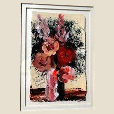 "ANNA SANDHU RAY (American, b. 1946) - Original Signed Folk Art Oil Painting ""Bouquet"""