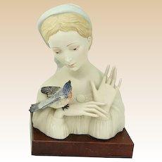 "Cybis Closed Edition - ""Madonna With Bird"" c. 1950's, Artist Laszlo Ispanky, Original Edition"