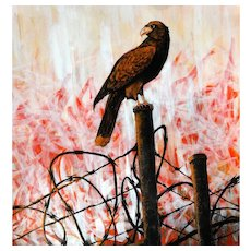 """OUTSIDER ARTIST Marcel 'Sel' Blanco (American, 20th Century)  """"Falcon On The Fence"""" Original Signed Acrylic and Marker on Canvas Paper"""