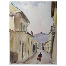 """Original Signed Watercolor From Italy, """"Firenze Erta Canina"""" Mid Century"""
