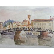 """Original Signed Watercolor From Italy, """"Firenze Ponte A. S. Ternita"""" Mid Century"""
