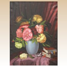 """ROMANIAN SCHOOL - Signed Original Still Life Oil On Canvas """"Bouquet With Books"""""""