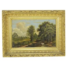 "19th Century European School Original Oil on Panel ""Peaceful Countryside"""