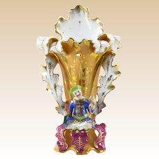 OLD PARIS Gilt Hand-Painted Figural Porcelain Vase