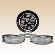 "Twelve (12) LALIQUE  ""Muguet"" Crystal Plates, Elegant Clear and Frosted Lily Of The Valley Design"