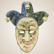"Venetian Handmade Glaze and Polychrome Ceramic Mask ""Je Giullare"" (The Jester) - Artist Signed, Titled -  mid 20th Century - Italy"
