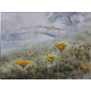 """MARIANO ORTUZAR (Chilean, b 1900) - Original Signed/Dated Watercolor """"Flowers Overlooking The River"""" - Exquisite Impressionist"""