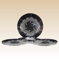 "LALIQUE (France) - SIX (6) Clear and Frosted Long Discontinued ""Rolleboise"" Plates"