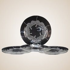 """LALIQUE (France) - SIX (6) Clear and Frosted Long Discontinued """"Rolleboise"""" Plates"""