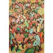 "JEAN PAULIN, (Haitian, 20th Century) - Large Original Signed Oil On Linen ""Marketplace"""