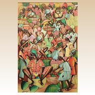 "JEAN PAULIN, (Haitian, 20th Century) - Large Original Signed Oil On Linen ""Marketplace"""