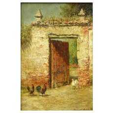 "BURR NICHOLLS (American, 1848-1915) Original Signed Oil On Board ""Fowls at the Venetian Doorway"""