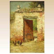"BURR NICHOLLS (American, 1848-1915) Original Signed Oil On Board ""Fowls at the Venetian Doorway"""