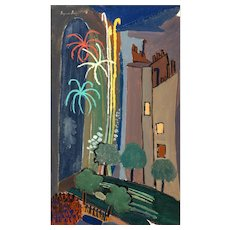 """SUZANNE ROGER (French, 189 - 1986) -Original Signed Oil On Canvas """"Le feu d'artifice"""" - Outstanding Surrealist - Red Tag Sale Item"""