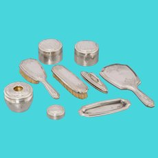 TIFFANY & Co - NINE Piece Partial Gilt Sterling Silver Vanity Set