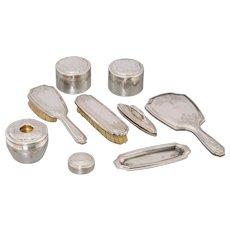 TIFFANY & Co - NINE Piece Partial Gilt Sterling Silver Vanity Set