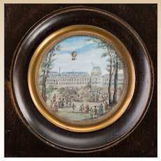 French Balloon Motif Miniature Framed Watercolor Painting, Ascent at Tuileries Palace, Late 18th Century,