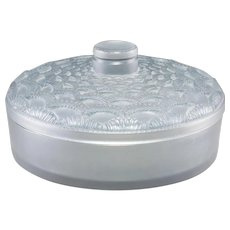 "R. LALIQUE Clear and Frosted Glass  ""Festons"" Lidded Box With Blue Patina"