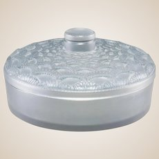 """R. LALIQUE Clear and Frosted Glass  """"Festons"""" Lidded Box With Blue Patina"""