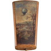 French Four-Piece Silver, Painted & Inlaid Wood Etui with Balloon Motif.