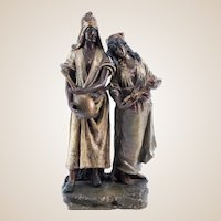 Large Austrian Cold Painted Metal Figural Group of a Master and Slave, Circa 1900