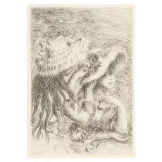 """""""Le Chapeau Epingle: (""""The Hat Pin"""") - Etching - Nicely Framed - (See Signature in Engraving)"""