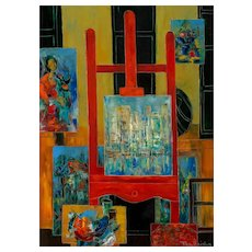 "TONY AGOSTINI  (Italian, 1916-1990) Original Signed Oil On Canvas ""The Artist's Studio"""