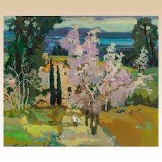 """PIERRE GRISOT (French 1911 - 1995) Original Signed Oil On Canvas """"Le Mioli en Fleurs"""""""