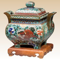 Chinese Cloisonné Censer With Dragon And Shi-Shi on Turquoise Blue Ground,  with Stand