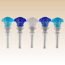 Five Rosenthal for Versace Clear, Blue, Aqua and Frosted Glass Masque Stoppers, 20th century