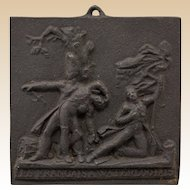 "Antique French Cast Iron Commemorative Plaque: ""Les Francais a Waterloo 1815""  (19th Century.)"