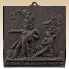 """Antique French Cast Iron Commemorative Plaque: """"Les Francais a Waterloo 1815""""  (19th Century.)"""