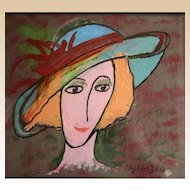 """PHYLLIS DILLER  (American, 1917 - 2012)  Original Mixed Media - """"Coco""""  - One of our Country's Most Famous Comediennes Original Artwork!"""